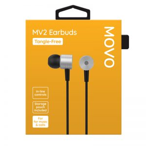 MOVO MV2 Earphones Tangle-Free Phones Rescue Bournemouth