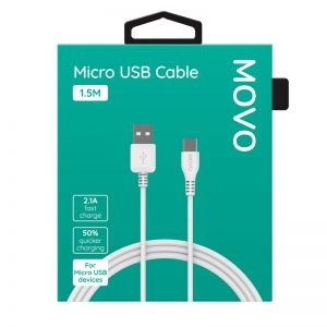 MOVO Micro USB Cable 150cm Fast Charge White