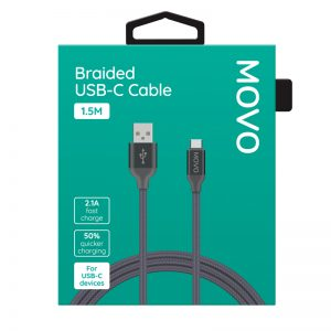 MOVO USB-C Cable Braided 150cm Fast Charge Grey