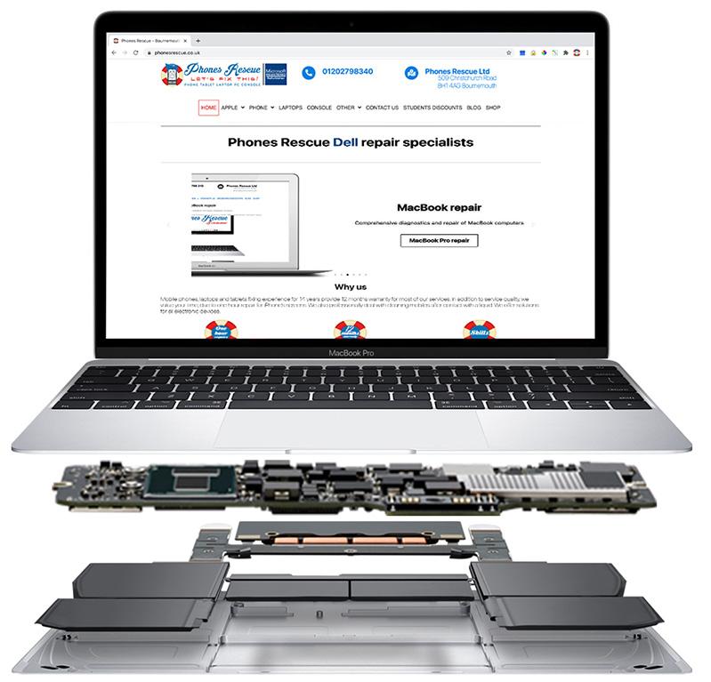 MacBook in the parts Phones Rescue